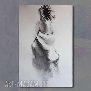 dom woman, duży obraz kobieta, kobieta grafika, rysunek węglem, postać kobiety