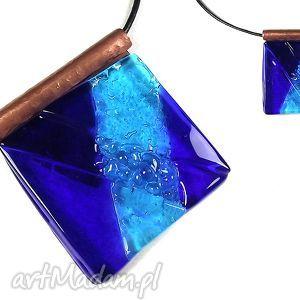 teresotis blue - duży wisior szklany biżuteria autorska wykonana w technice