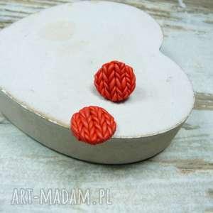 kolczyki czerwone wełniane serduszka - wkrętki, kolczyki-wkrętki