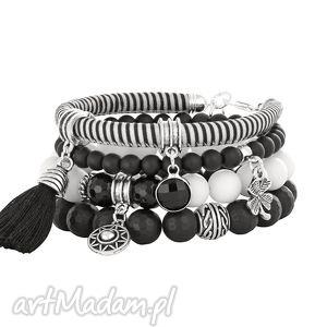 black & white stripes - rzemień, chwost, jadeit