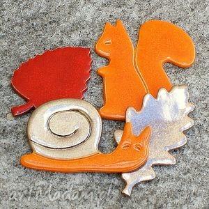 magnesy zestaw magnesów jesiennych, wiewiórka, ślimak, magnesy, liście, jesień