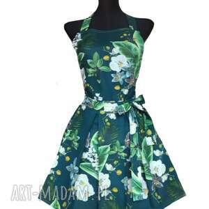 sielskie i anielskie elegancki fartuch sukienkowy do kuchni w kolorze zielonym