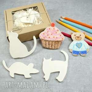 zabawki koty i mysz - magnesy do samodzielnego przyozdobienia, kot