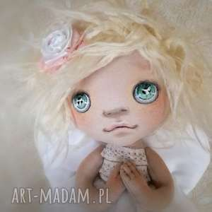 figurka tekstylna aniołek, anioł, malowany, szyty, prezent, ślub, chrzest