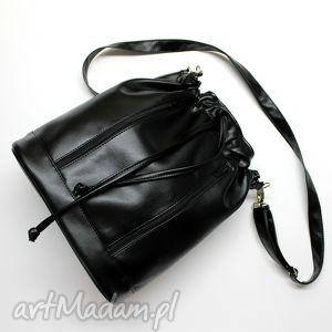 handmade na ramię worek sakiewka - czarny