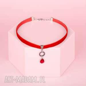 choker - red, choker, aksamitka naszyjniki biżuteria, świąteczny prezent