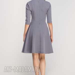 Sukienka Rozkloszowana, SUK147 szary, wyjściowa, elegancka, midi