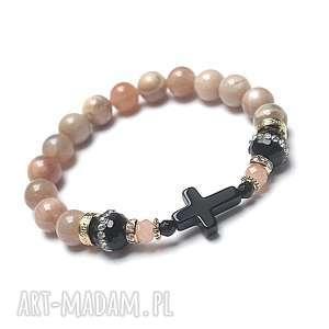 Cross /nude and black/ 29-03-18/ - bransoletka, kamień, słoneczny, onyksy, krzyż