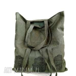 torba oliwkowa z autorskim printem, khaki, pojemna, lato, militarny, plaża
