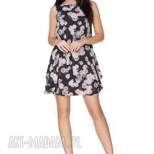 Sukienka elegancka z fikuśnym dołem t227, róże na czarnym tle