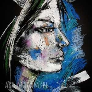 Cora - rysunek pastelami suchymi, rysunek, portret, unikat, radzka, pastele, profil