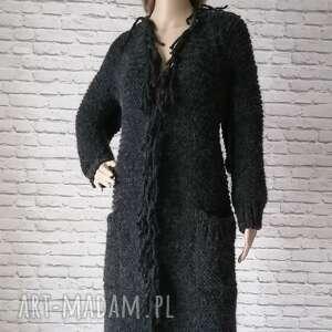 lalu sukienki długi sweter z ozdobnym warkoczem i frędzlami, sweter, płaszcz