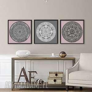 zestaw 3 prac 30x30cm, plakat, plakaty, mandala, róż, wnętrze, sztuka