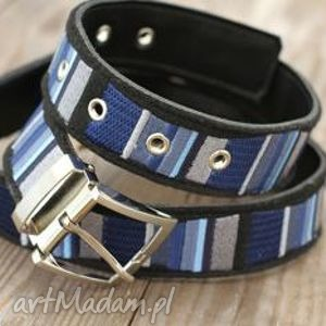 stripes pasek haftowany na filcu niebieski,szary, jeans - pasek, skóra, filc, haft