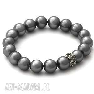 steel pearl with crystal bead - perła