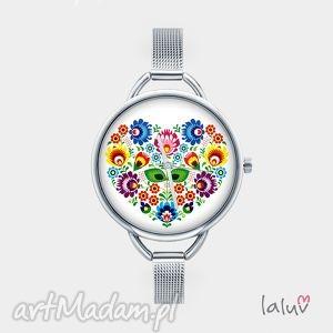 zegarki zegarek z grafiką love slavic, folk, ludowe, grafika, serce, kwiat, kwiaty