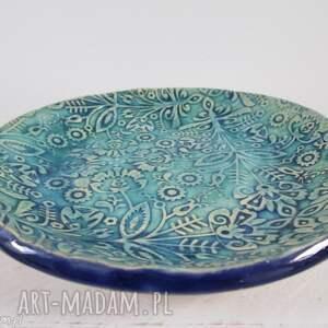 folkowa mała miseczka turkusowa, miska, ceramiczna, wzory, folkowe, turkusowa
