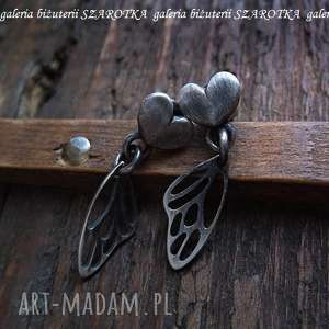 motylove kolczyki ze srebra, skrzydła, motyl, serduszka, srebro, oksydowane, sztyfty