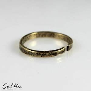 nieregularny - mosiężny pierścionek 200131-03, pierścinek, obrączka, mosiężna