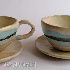 komplet filiżanek z widokiem na morze 2, ceramika rękodzieło, kawowy