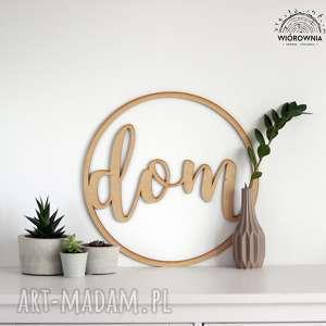 wiorownia okrąg z napisem dom, napis, design, miłość, drewno, wnętrze