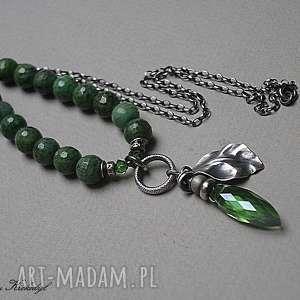 Greenery - naszyjnik, zoisyt, szkło, srebro