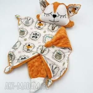 maskotki przytulanka lis dla niemowląt, kocyk minky, lisek, maskotka, gryzak