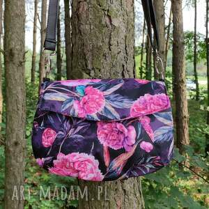 ręcznie wykonane na ramię torebka z klapką - piwonie