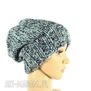 kolorowa czapka z wełną robiona na drutach - czapka, wełna, przędza