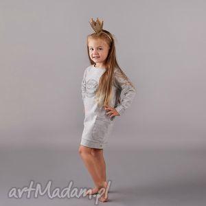 sukienka z kieszeniami bombka, sukienka, szara, tunika, kieszenie, bawełna