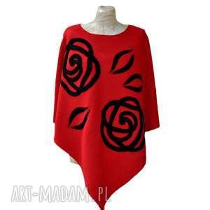 czerwone ponczo róże, ponczo, poncho, filcowane, czerwone-ponczo, klasyczne-ponczo