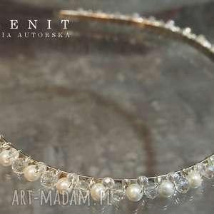 Ślubna opaska, ślub, perły, kryształy