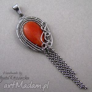 ręcznie zrobione wisiorki długi wisior z pomarańczowym jadeitem, stal chirurgiczna, wire
