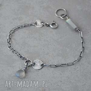 ręcznie robione prosta srebrna bransoletka z labradorytem - 059