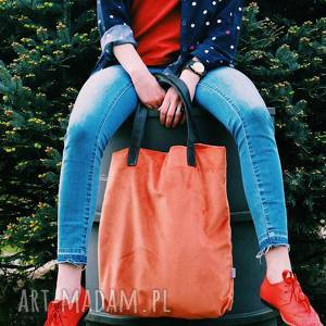torba mr m velvet koralowa /uszy skóra naturalna, shopper, casualowa, pojemna