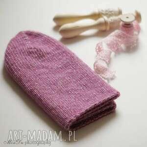 jesienna fuksja - czapka, wełna, jesienna, merino, bawełna, dziergana