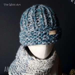 Gruba zimowa czapka czapki the wool art czapka, na drutach,