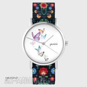 zegarek - motyle folk czarny, nato, pasek, folkowy, zegarek, motyl