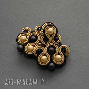 klipsy złoto-czarne sutasz, sznurek, wiszące, wieczorowe, eleganckie