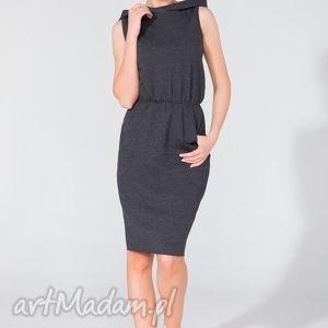 sukienka dresowa z kapturem t133 ciemnoszary, sukienka, dresowa, kaptur, kieszeń