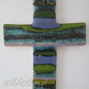pasiasty krzyżyk ceramiczny 2, krzyż, kolorowy, w, paski, ceramika, dewocjonalia dom