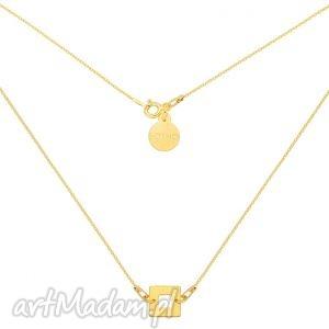 złoty naszyjnik z kwadracikiem sotho - złoto, prezent