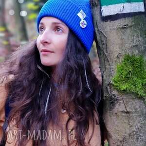 czapki wywijana dwustronna logo kolorowe rzeka, czapka, zimowa, jesienna, street