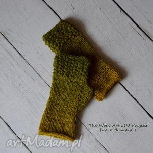 rękawiczki mitenki - rękawiczki, mitenki, zielone, wełniane