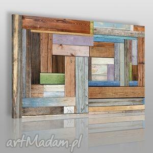 obraz na płótnie - drewno deski 120x80 cm 17301 , deski, drewno, kolory, kolorowy