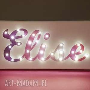 ręcznie zrobione dla dziecka neon obraz led z imieniem pastelowy ombre personalizowany