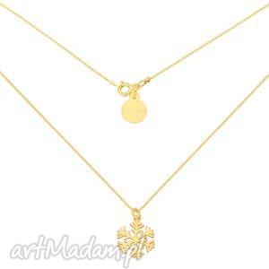 złoty naszyjnik ze śnieżynką - łańcuszek