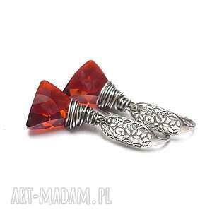 triangle /red magma/ - kolczyki, srebro, oksydowane, swarovski, koronkowe