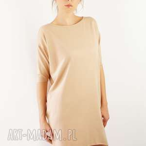 Sukienka nude, sukienka, tunika, kobieca, bawełna, modna, oversize