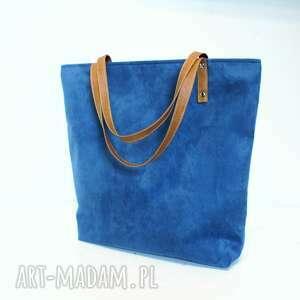 Shopper bag, torba, niebieska, granatowa, szyta, modna
